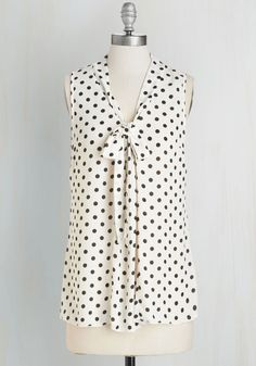 South Florida Spree in White Dots. Take your wardrobe on a vivacious Miami vacation with this sheer white top! #white #modcloth