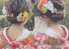 和洋まぜこぜ雰囲気が可愛い♡和婚にぴったりの洋髪花嫁ヘアまとめ*のトップ画像 Kimono Japan, Japanese Kimono, Wedding Kimono, Hair Arrange, Japanese Hairstyle, Hair Ornaments, Hair Pieces, How To Look Pretty, Headpiece