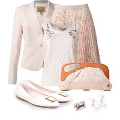 Office outfit: White - Rose by downtownblues on Polyvore featuring Bandolera