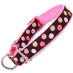 Pink Polka Dot Martingale Dog Collar, Pink & Brown