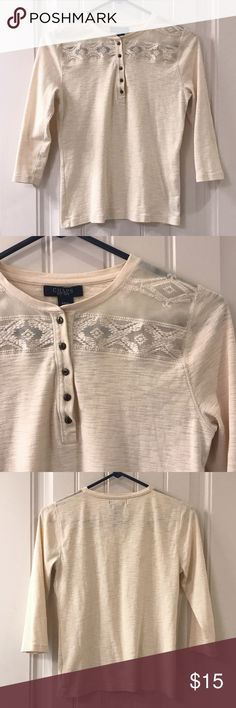 Chaps Henley Top Cream colored Chaps Henley Top. Super cute when paired with jeans! EUC Chaps Tops