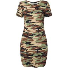Women Camouflage Printed Short Sleeve O Neck Irregular Hem Mini Dress ($10) ❤ liked on Polyvore featuring dresses, army green, short sleeve dress, short sleeve summer dresses, day summer dresses, camouflage dresses and sleeved dresses