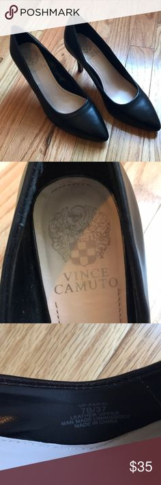 Vince Camuto Size 7 3 Inch Black Leather Heels Vince Camuto 3 Inch Black Leather Heels, Size 7B Vince Camuto Shoes Heels
