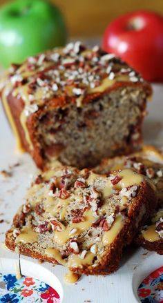 Banana apple bread with caramel sauce and chopped pecans. Greek yogurt and very ripe bananas make this low-fat bread very moist.