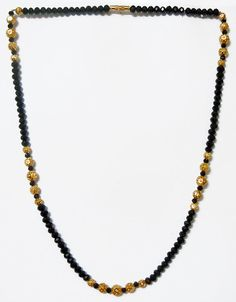 Black Crystal with Gold Plated Bead Necklace ( Metal And Stone)