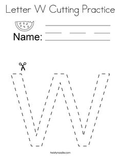 Letter W Cutting Practice Coloring Page - Twisty Noodle Physical Education Games, Health Education, Physical Activities, Teaching Abcs, Cutting Practice, Dementia Activities, Letter W, Brain Gym, Team Building Activities