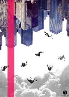 Untitled.  To place an order, email us at malvika@aanay.in  #illustration #collage #graphics #buildings #chicago #men #falling #people #clouds #colour #aanay