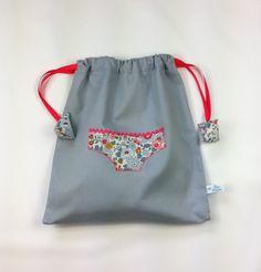 SAC A PETITES CULOTTES ET LINGERIE - Liberty Betsy porcelaine et piqué de coton gris
