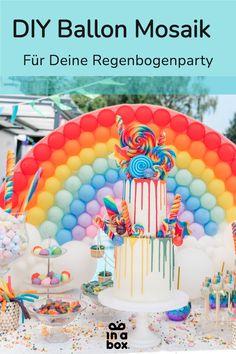 Das wunderbare, magische bunte Regenbogen Ballonmosaik ist nicht nur easy peasy zu Hause selbst gemacht, sondern auch noch der Hingucker auf jeder Party! Ob magische Einhornparty, bunter Kindergeburtstag oder fabelhafte Regenbogenfete, das DIY Ballon Mosaik passt einfach immer! Foto by Felicitas von Imhoff. Party Box, Diy Party, Diy Ballon, Party Decoration, Diy Box, Wild Ones, Balloons, Goodies, Birthday Cake