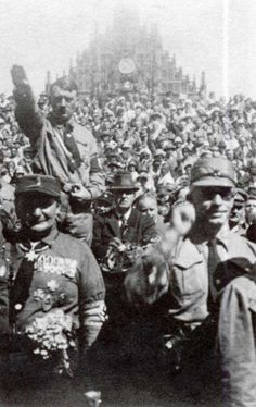 The Nuremberg RALLIES ~ Hitler at Nazi party rally Note the Church of our Lady in the background. Photo taken in Nuremberg, Germany (circa [Posted at Century History, from US Holocaust Museum] World History, World War Ii, Nuremberg Rally, Germany Ww2, Nuremberg Germany, Church Of Our Lady, The Third Reich, The Victim, Socialism