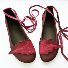 Size UK 8, Handmade Womens Leather Shoes, NEVERLAND, Chestnut, Wild Plum 2200 by Fairysteps