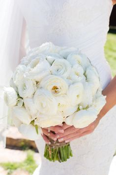 tented lakeside wedding by mandy mohler white wedding bouquetsbouquet - White Garden Rose Bouquet