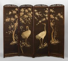 Asian Japanese screen 4 fold embroidery