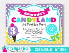 Printable Candyland Invitation printable Sweet Candyland  Invitation Printable Birthday Invite Custom Event Invite -D350 HBCL1 by Partymazing