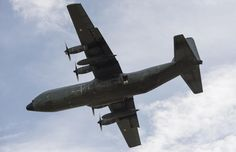 French Armée de l'Air Lockheed C130 Hercules,4 September 2013,during paradrop exercise, in Chad.
