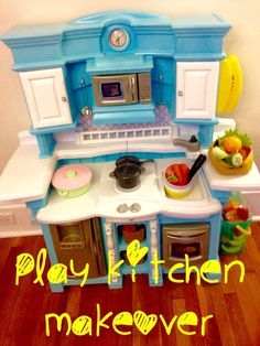 I found a filthy Step 2 Play Kitchen in an alley on garbage day. I carried it home six blocks and completely transformed it with some elbow grease and Rustoleum…