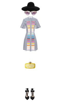 """""""Rock the rainbow"""" by toinettetoy ❤ liked on Polyvore featuring Oscar de la Renta, Tanya Taylor, Olgana, Maison Michel, A-Morir by Kerin Rose, women's clothing, women's fashion, women, female and woman"""