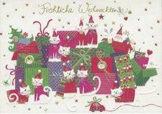 Fröhliche Weihnachten - Katzen - Klapp- Weihnachtskarte mit Kuvert
