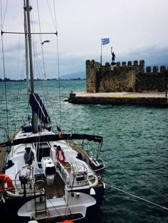 Nafpaktos, Greece — by Natsu Natsu. I like Greek flag Greek Flag, Patras, Greece Travel, Picture Video, Travel Photography, Around The Worlds, Boat, Adventure, Pictures