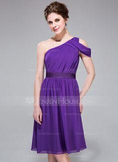Bridesmaid Dresses - $99.99 - A-Line/Princess One-Shoulder Knee-Length Chiffon Charmeuse Bridesmaid Dress With Ruffle (007037298) http://jenjenhouse.com/A-Line-Princess-One-Shoulder-Knee-Length-Chiffon-Charmeuse-Bridesmaid-Dress-With-Ruffle-007037298-g37298?ver=1