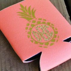 Monogram Koozie Pineapple Preppy Bridesmaid Sorority Wedding Bridal Party…