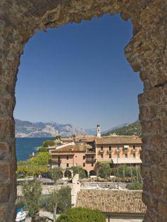 A view from the castle over Torre del Benaco, Lake Garda, Veneto, Italy, Europe Italian Lakes, Lake Garda, Future Travel, Beautiful World, Good Times, Road Trip, Castle, Around The Worlds, Europe