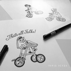 Skeleton in tricycle tattoo design by Adrià Deyza.
