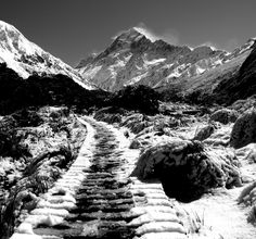 Boardwalk Empire. Another classic black and white. You too can see this view if you do the Hooker Valley Track. Suitable for all fitness levels! http://www.glentanner.co.nz/mt-cook-activities/walks