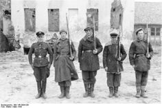 Members of Schutzmannschaft-Brigade Siegling pose for the camera near Mogilev, March 1943. The brigade was formed in East Prussia largely by retreating collaborationist Belorussians as a police force. The brigade got its name from Hans Siegling, who was the SS-and-Police leader of the White Ruthenia and the brigade commander. In late 1944, the brigade was moved to France as a Waffen SS formation where it was eventually disbanded due to desertions and Allied blows.