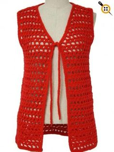 -home crafter- Womens bright red worsted weight acrylic open lacey pattern crochet sleeves hip length vest with matching tie. My grade 3 teacher wore this.Mom crocheted this exact vest for my sister, Liz, to wear over her uniformCrochet sweater vest Lacey Pattern, Crochet Vest Pattern, Crochet Patterns, Crochet Vests, Free Pattern, Crochet Cape, Crochet Edgings, Crochet Shirt, Shawl Patterns