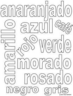 Color the Spanish Color Words and Class Sign - Sue Summers - TeachersPayTeachers.com