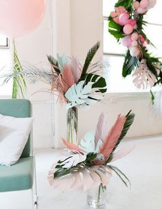 DIY Inspiration - Love these paper leaves & feathers to die-for party decoration! It's trending: Sweet Tropicana-Eclectic Trends