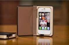 Q Little Black Book Case for iPhone 4/4S with Hickory Interior