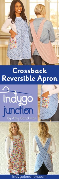 Sewing Bags Retro Indygo Junction's Reversible Crossback Apron pattern is a favorite for very good reasons! - The Crossback Reversible Apron is one of our most popular apron patterns. It slips on over your head Sewing Aprons, Sewing Clothes, Diy Clothes, Sewing Hacks, Sewing Crafts, Sewing Projects, Aprons Vintage, Vintage Sewing, Clothing Patterns