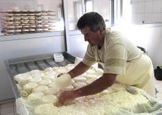 Almbauer Yann Bastard dreht die noch frischen Käselaiber, bevor sie von der anderen Seite gepresst werden. http://fromagefreres.de/collections/franzoesische-kaese/products/reblochon-de-savoie-aop-fermier