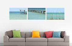 Get beach ready!!  https://www.etsy.com/listing/253026751/teal-wall-decor-set-of-3-fine-art-canvas