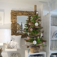 4ft Natural Driftwood Tree decorated with Pink Roses and Shell Baubles www.dorisbrixham.com