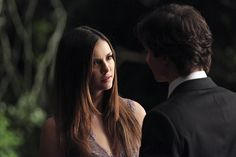 """The Vampire Diaries -- """"I'm Thinking of You All The While"""" -- Image Number: -- Pictured (L-R): Nina Dobrev as Elena and Ian Somerhalder as Damon (back to camera) -- Photo: Annette Brown/The CW -- © 2015 The CW Network, LLC. All rights reserved. Vampire Diaries Enzo, Nina Dobrev Vampire Diaries, Vampire Diaries Shirts, Serie The Vampire Diaries, Vampire Diaries Quotes, Vampire Diaries Seasons, Vampire Diaries Wallpaper, Vampire Diaries The Originals, Paul Wesley"""
