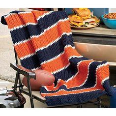 Ravelry: Stadium Blanket pattern by Herrschners Striped Crochet Blanket, Easy Crochet Blanket, Crochet For Beginners Blanket, Afghan Crochet Patterns, Crochet Blankets, Crochet Afghans, Crocheting Patterns, Baby Blankets, Knit Patterns