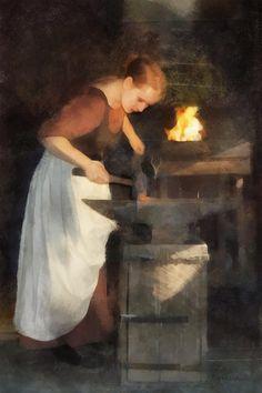 """Renaissance Lady Blacksmith"" by Francesca Miller on FineArtAmerica"