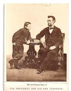 1865 casual for the era, studio photograph taken of Lincoln and son. Two imprint errors shown: Was not the last photo/likeness taken of Lincoln, but was the last taken of Lincoln in a studio setting and with son, Tad. Son's name was never Thaddus as shown on CDV, but Thomas, however during his entire life went by nickname of Tad. *s*