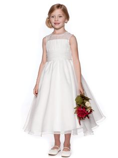 Bridal Organza Communion Dress with Gathered Top