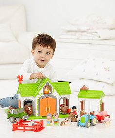 Bring the farm to life, give the farmer a voice of his own and make plenty of animal noises on the happyland farm.