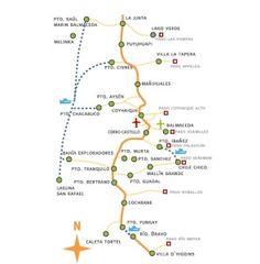 Mapa del tramo sur de la Carretera Austral. (Recorreaysen.cl) en Guía para recorrer la Carretera Austral.