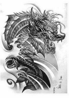 Koi Dragon Tattoo, Dragon Koi Tattoo Design, Dragon Fish, Dragon Sleeve Tattoos, Japanese Dragon Tattoos, Japanese Tattoo Art, Japanese Tattoo Designs, Japanese Sleeve Tattoos, Dragon Illustration