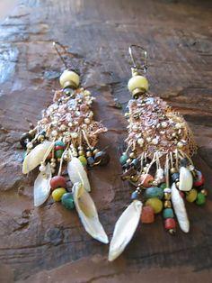 Verkauf  Fadenziehender Perlen Ohrringe Lace von AllThingsPretty, $54.00