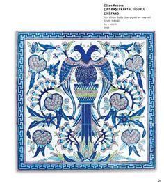 Çift başlı kartal Turkish Art, Turkish Tiles, Tile Murals, Tile Art, Tile Floor Diy, Islamic Tiles, Painting Tile Floors, Antique Tiles, Ottoman