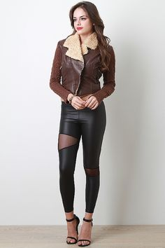 Leatherette and Knit Shearling Jacket
