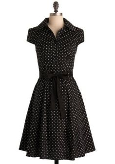 black polka dot summer dress by aileen