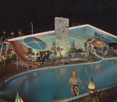 Vintage motel pool -- The Desert Inn, 1962. Anaheim, CA.